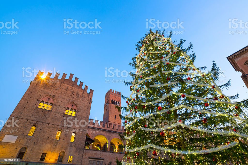 Christmas tree on Piazza del Nettuno in Bologna, Italy stock photo