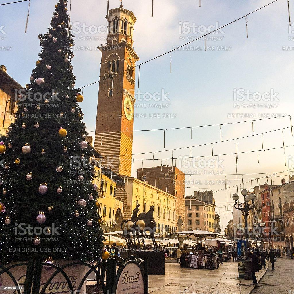 Christmas Tree on Piazza delle Erbe, Verona stock photo