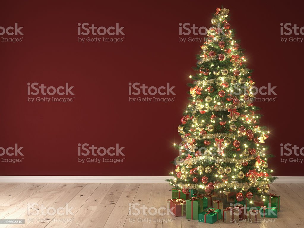 Christmas tree on red background. 3d rendering stock photo