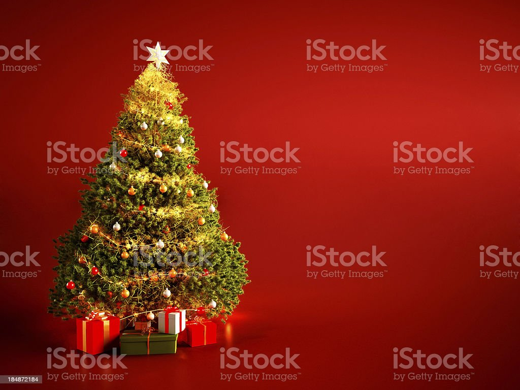 Christmas Tree on Red Background royalty-free stock photo