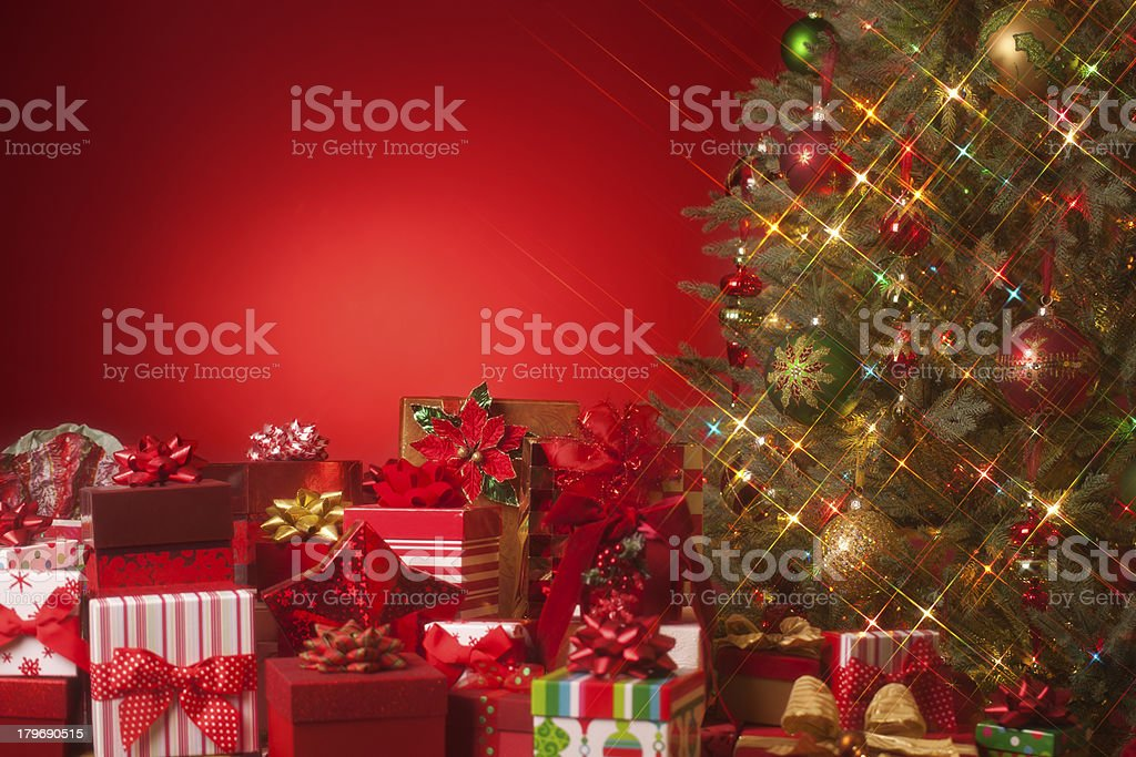 Christmas Tree on Red royalty-free stock photo