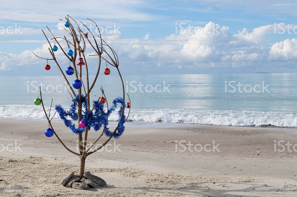 Christmas Tree on the Beach royalty-free stock photo