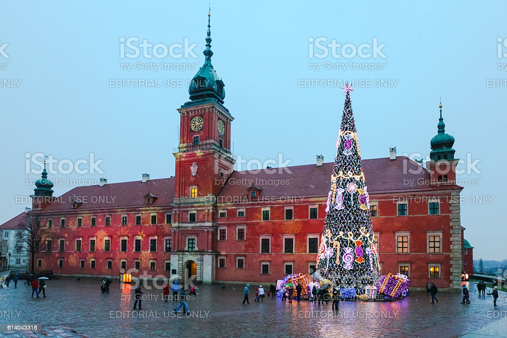 Christmas Tree on the Royal Castle  in center of  Warsaw stock photo
