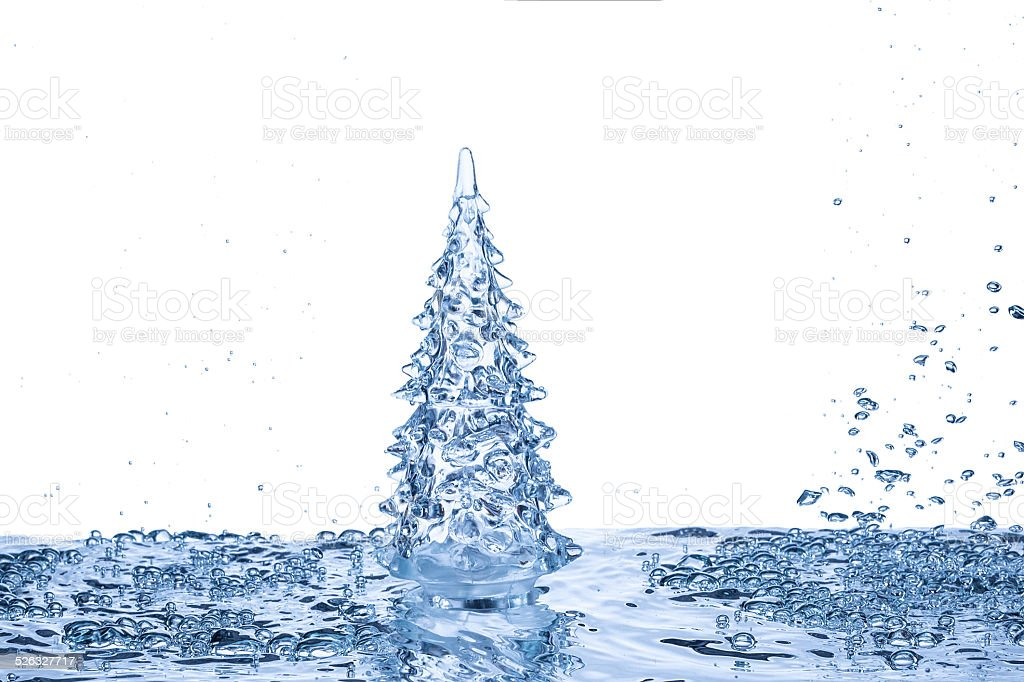 christmas tree on water background stock photo