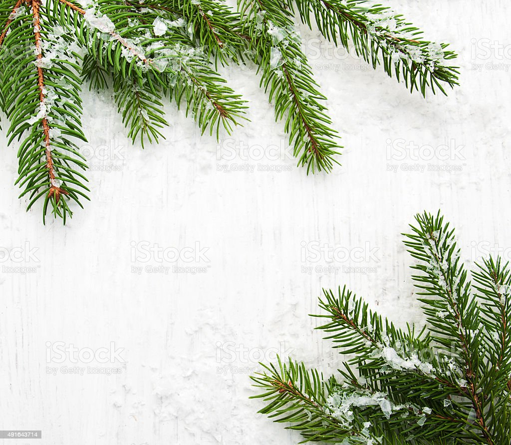 christmas tree on wooden background stock photo