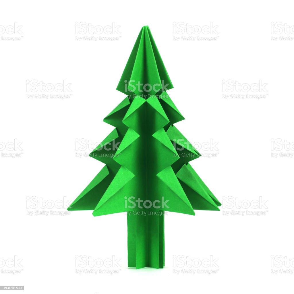 Christmas tree origami stock photo