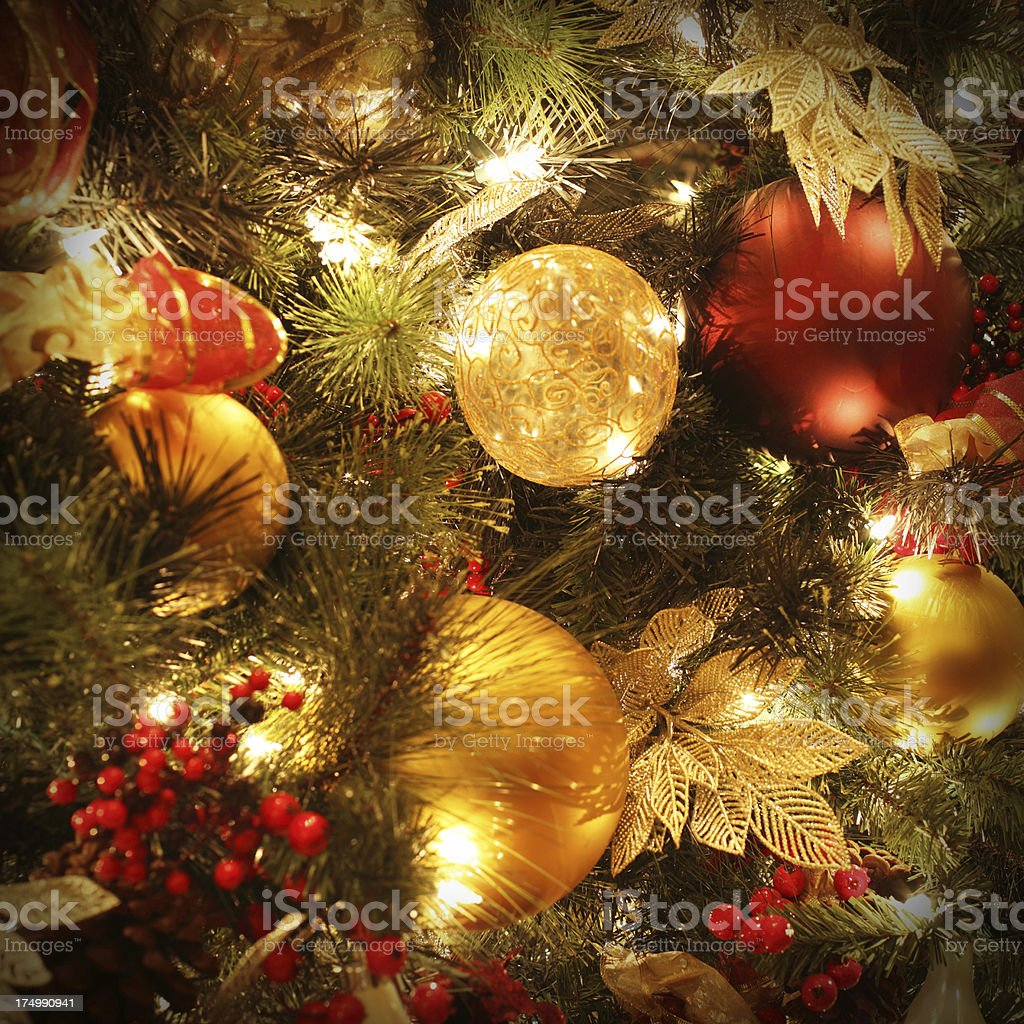 Christmas Tree Ornaments and Lights royalty-free stock photo