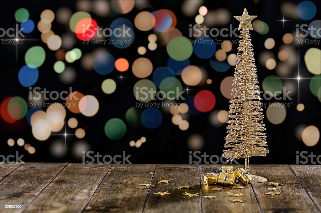 Christmas tree over black ilumminated background stock photo
