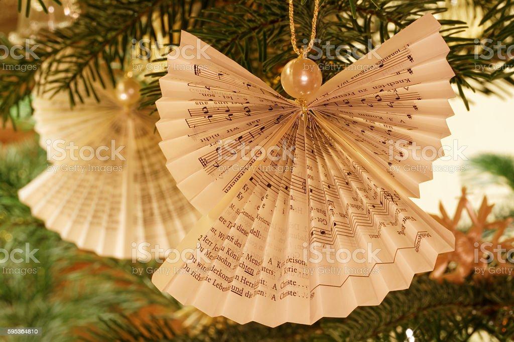 Christmas Tree Paper Angel Decoration stock photo