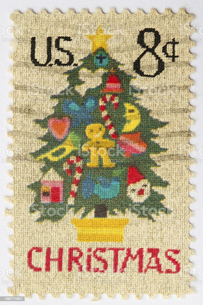 Christmas Tree Postage Stamp stock photo