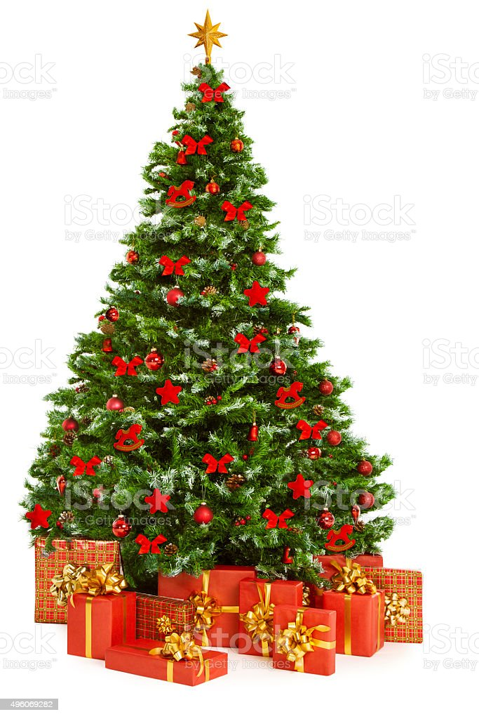 Christmas Tree Presents Gifts, Decorated Xmas Tree, White stock photo