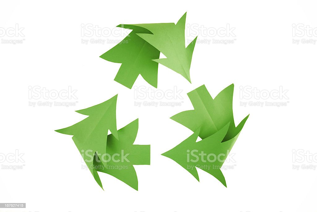 Christmas Tree Recycling Symbol on White stock photo
