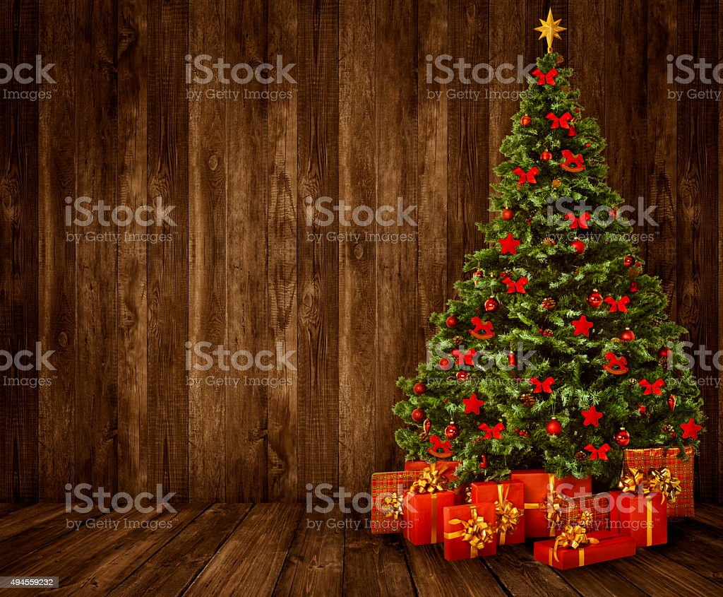 Christmas Tree Room Background, Wood Wall Floor Interior, Wooden Planks stock photo