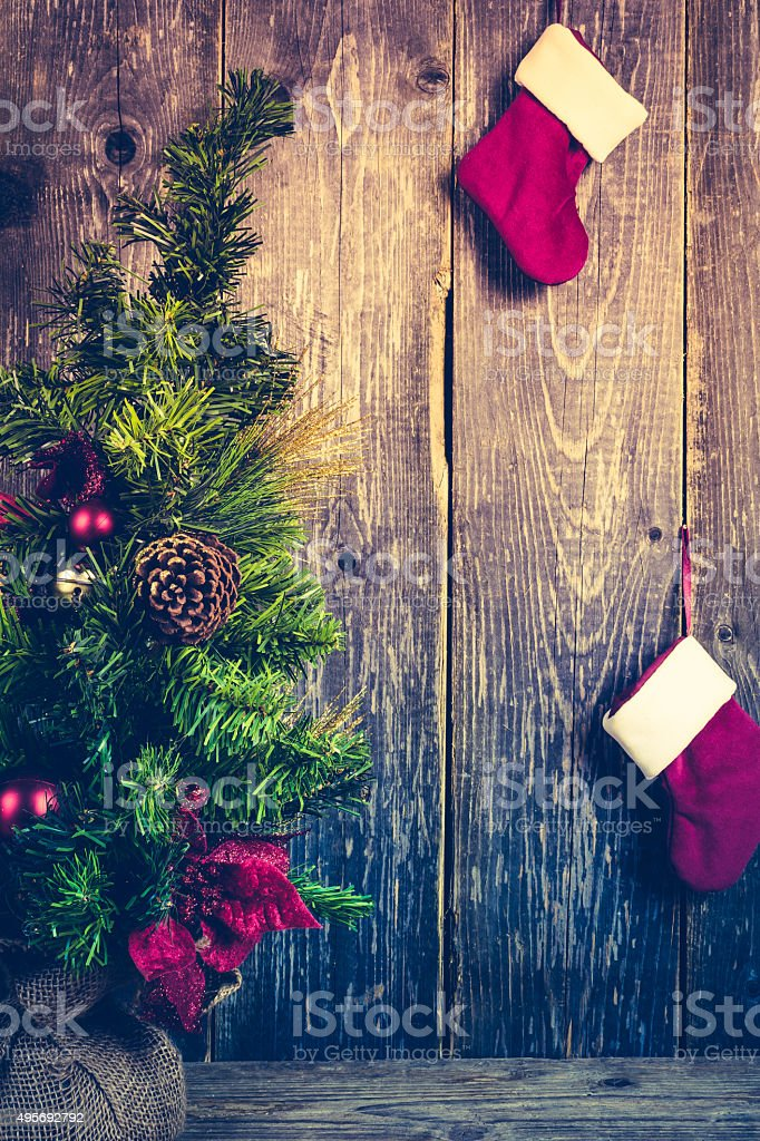 Christmas Tree, Santa's Boot, Christmas Background stock photo