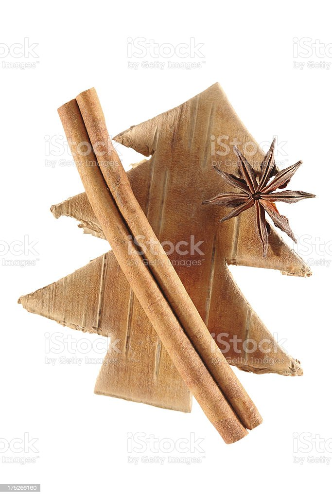 'Christmas Tree shape  with cinnamon stick, star anise' stock photo