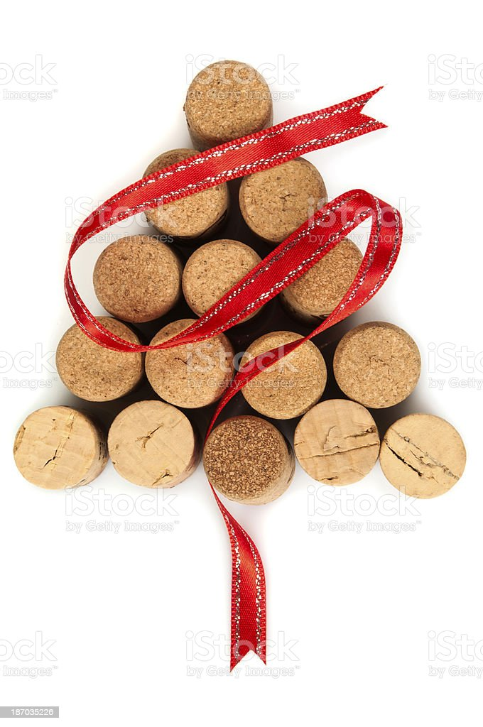 Christmas tree shaped arrangement of corks with red ribbon royalty-free stock photo