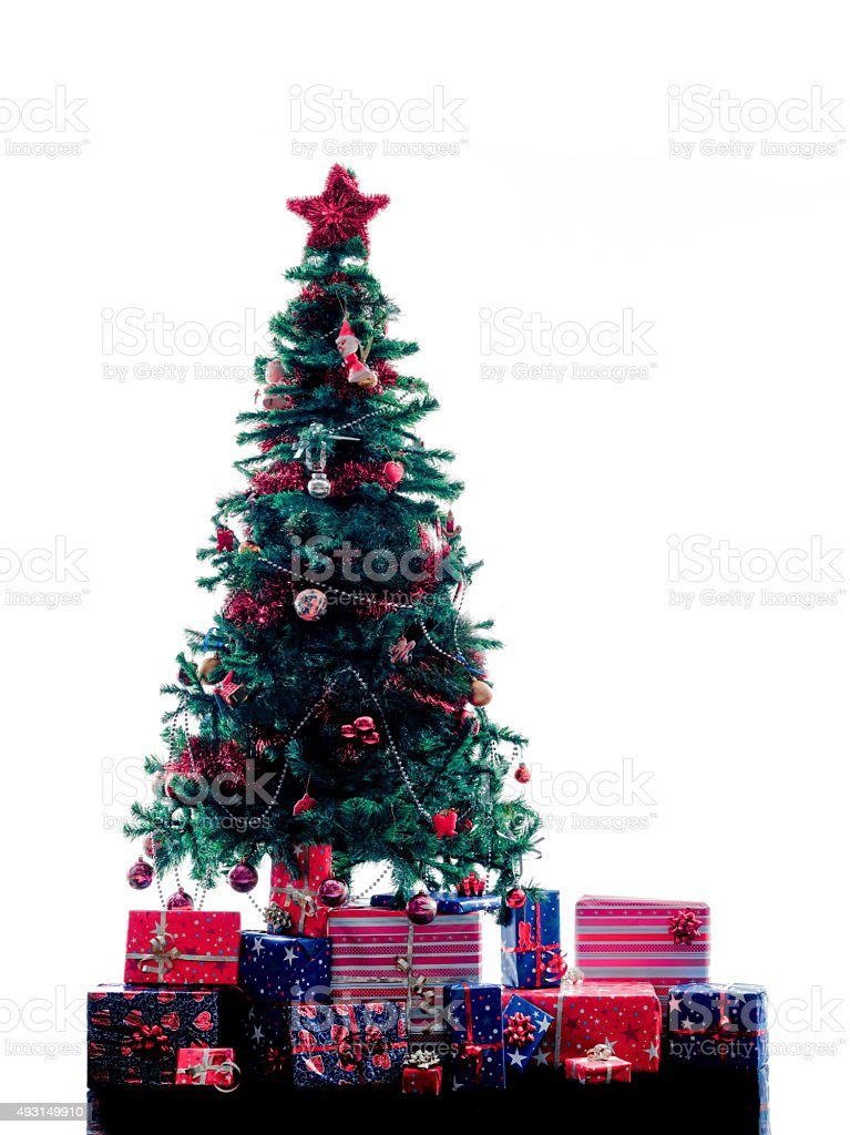 Christmas Tree silhouette isolated stock photo
