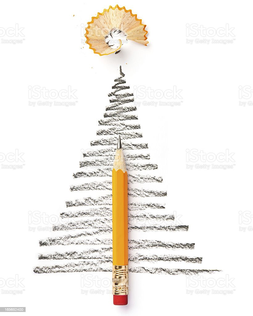Christmas Tree Sketch with Pencil royalty-free stock photo