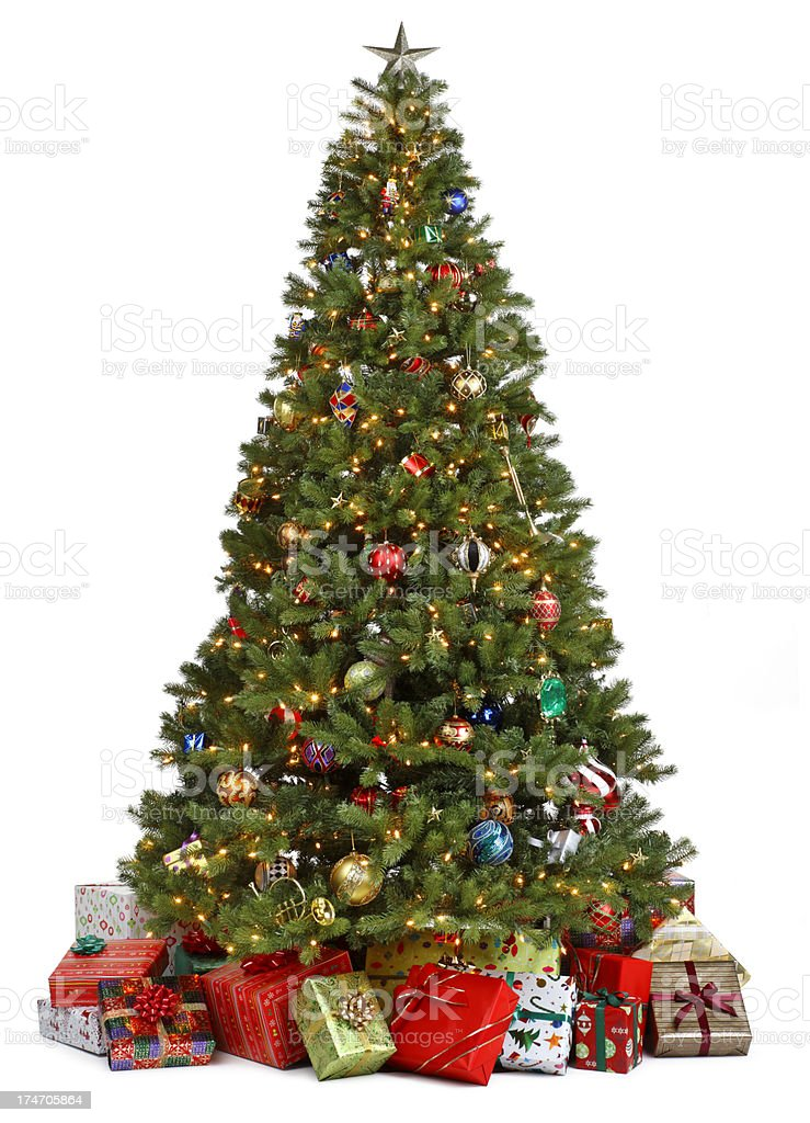 Christmas tree surrounded by presents on white background stock photo