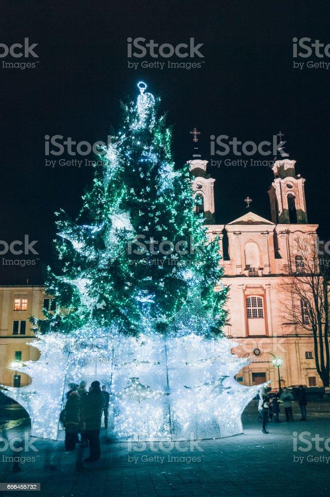 Christmas tree, Town Hall Square, Kaunas, Lithuania stock photo