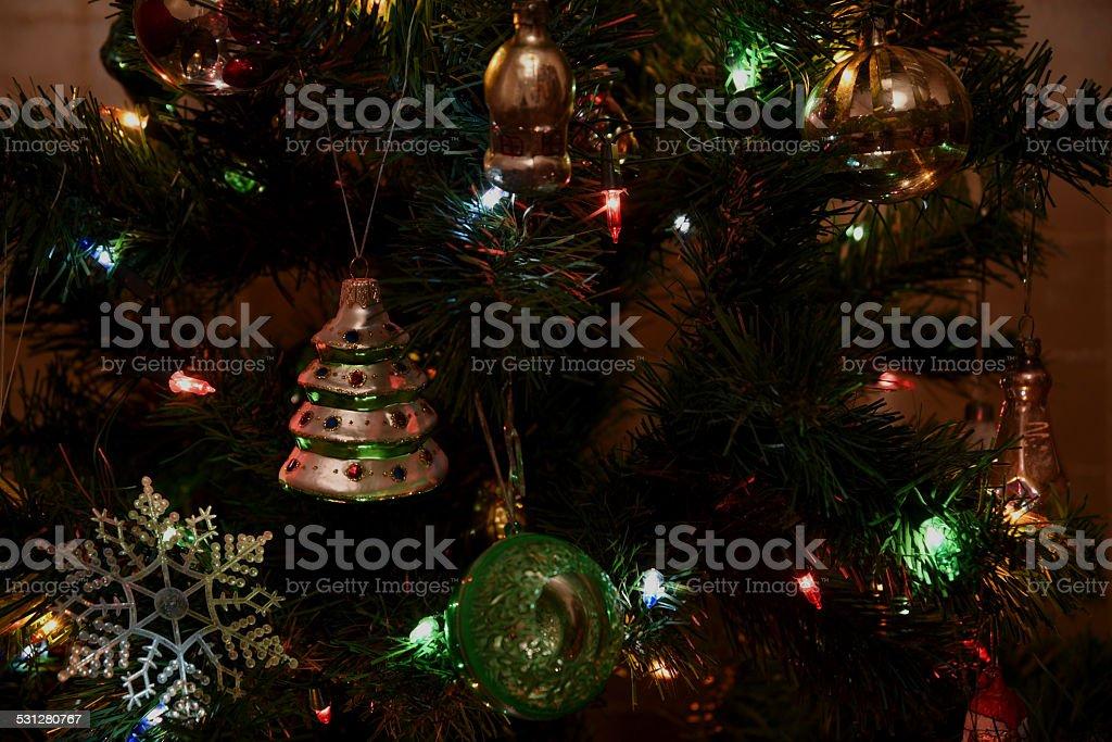 Christmas tree toy lights stock photo