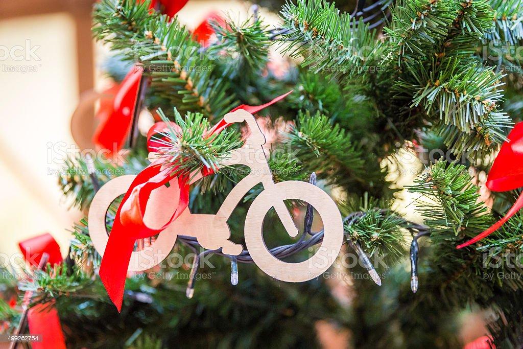 Christmas tree with bike decoration stock photo