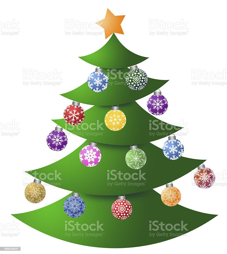 Christmas Tree with Colorful Ornaments royalty-free stock photo