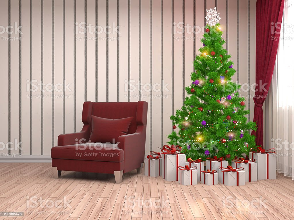 Christmas tree with decorations in the living room. 3d illustrat stock photo
