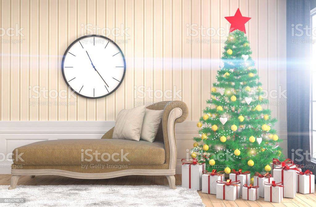 Christmas tree with decorations in the living room. 3d illustration stock photo