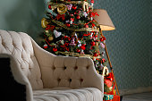 Christmas tree with garlands, vintage toys