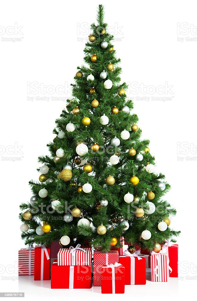 Christmas tree with gift boxes stock photo