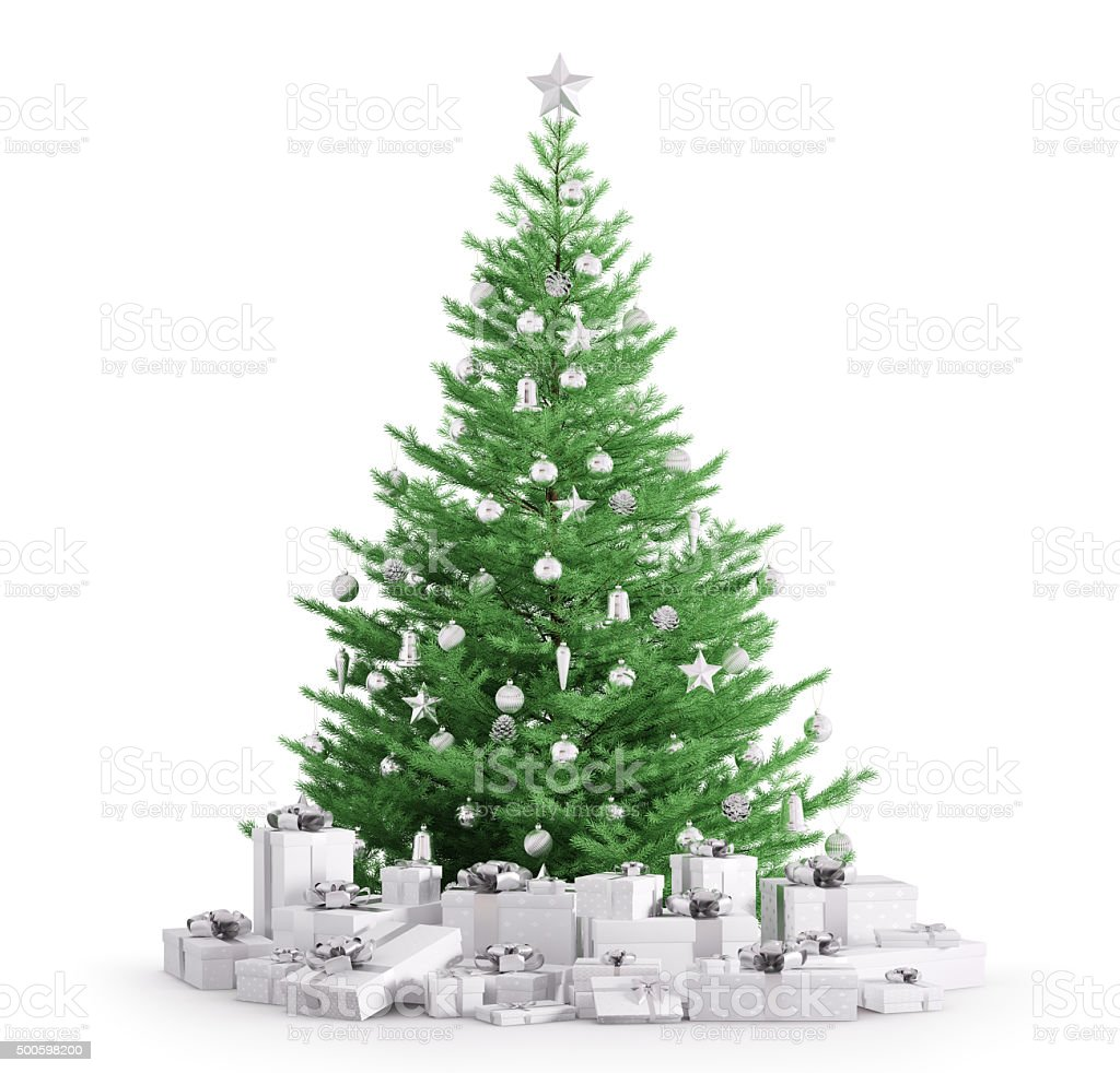 Christmas tree with gifts isolated 3d render stock photo