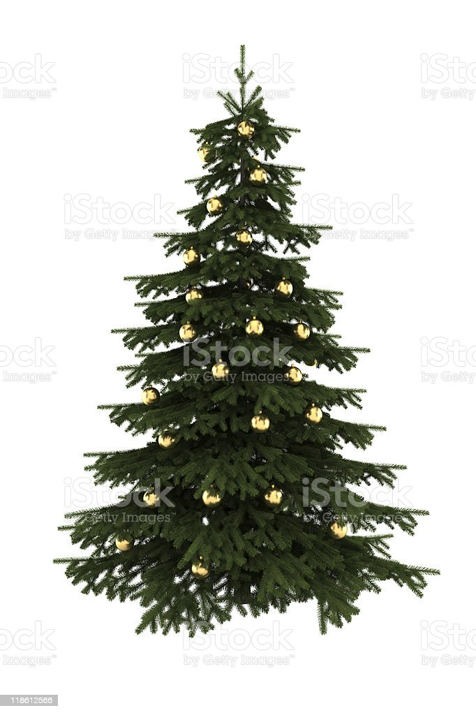 christmas tree with gold balls isolated on white background royalty-free stock photo