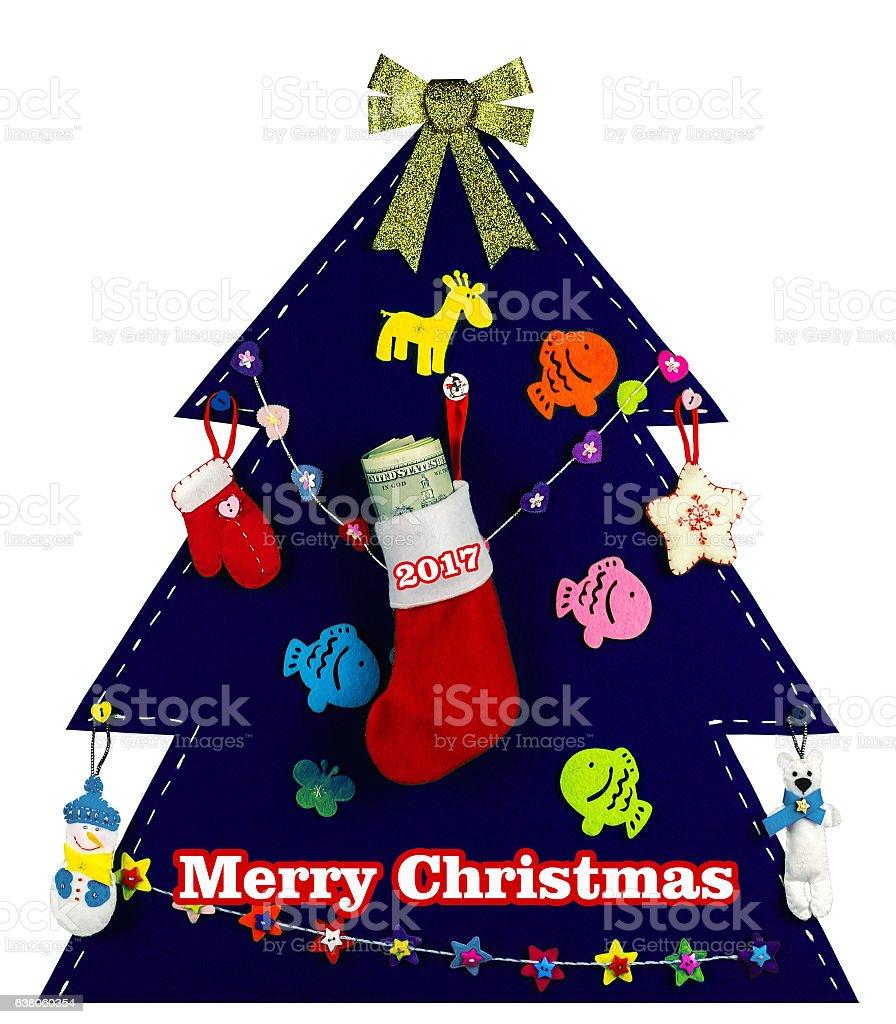 Christmas tree with handmade toys.2017 stock photo