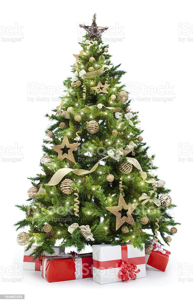 christmas tree with lights and gifts isolated on white stock photo