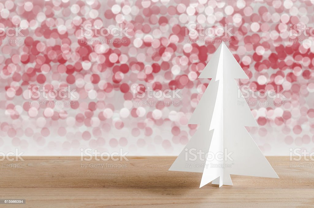 Christmas tree with lights snow winter background. stock photo