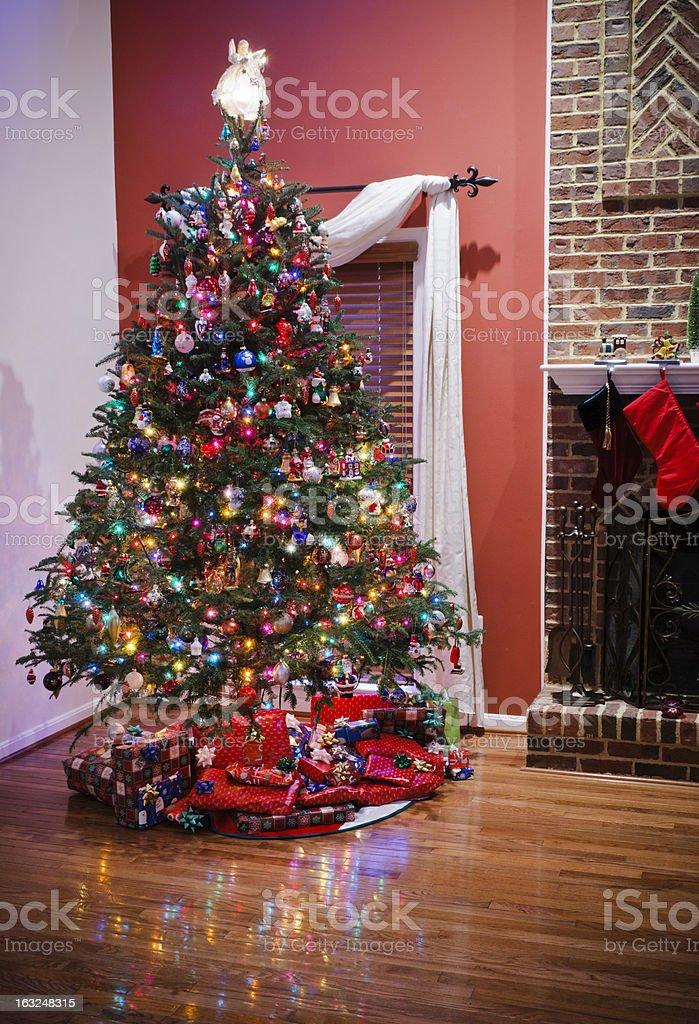 Christmas tree with many ornaments royalty-free stock photo