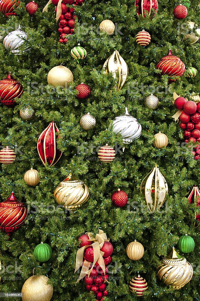 Christmas Tree with Ornaments Background royalty-free stock photo