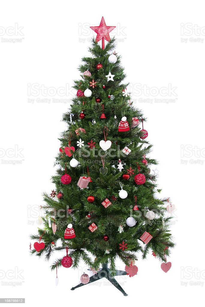 Christmas tree with patchwork ornament royalty-free stock photo