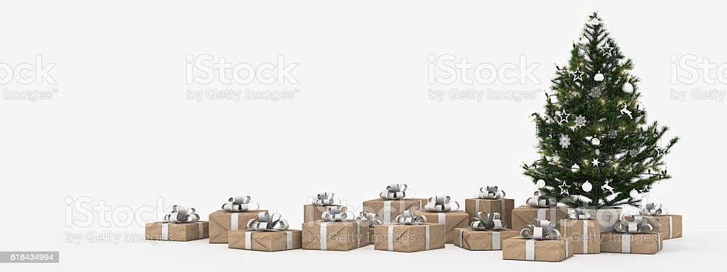 christmas tree with presents isolated on white. 3d rendering stock photo