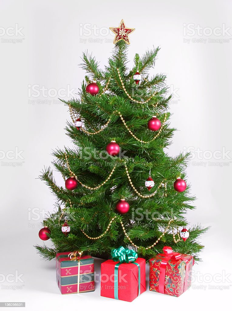 christmas tree with presents royalty-free stock photo