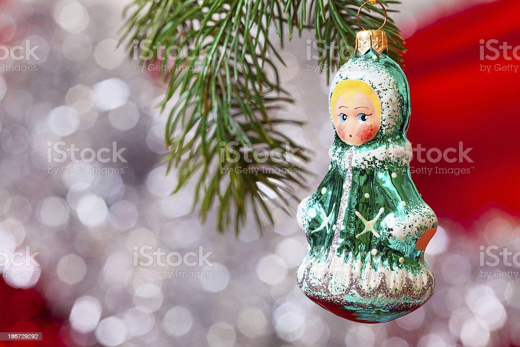 Christmas tree with Snow-maiden stock photo