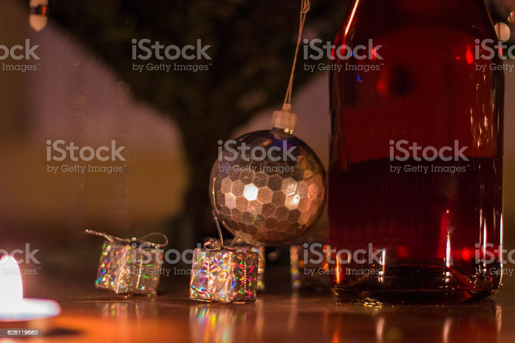 Christmas tree with wine and glasses royalty-free stock photo