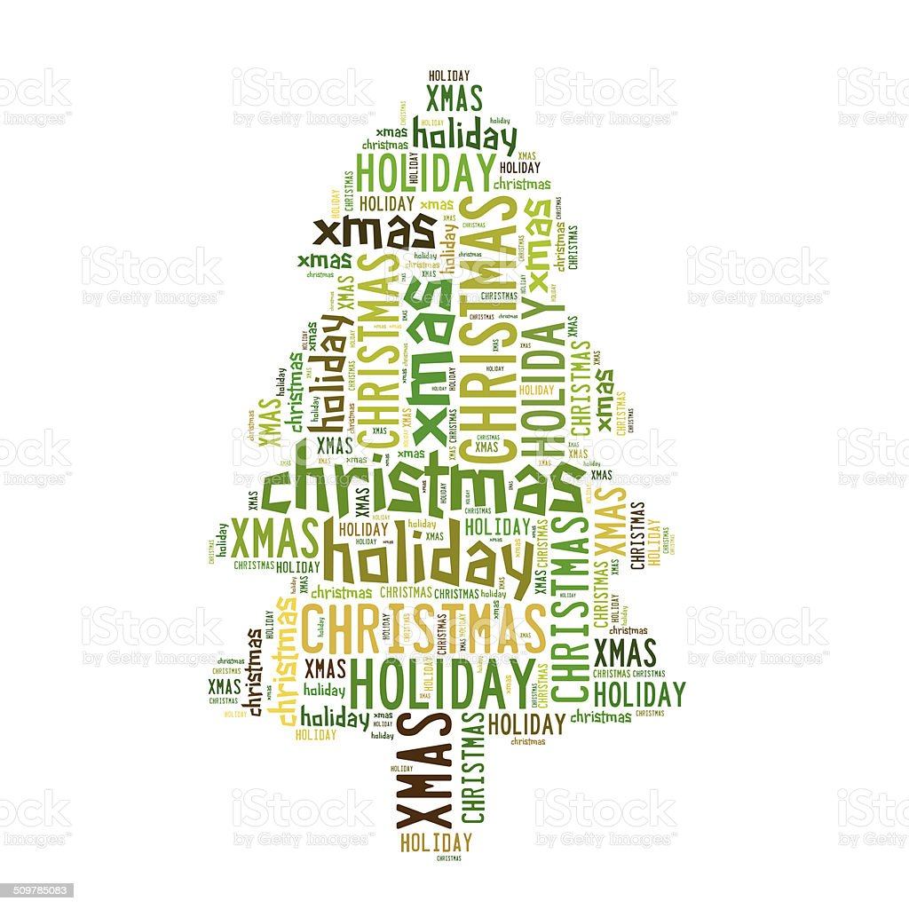 Christmas tree word cloud royalty-free stock vector art