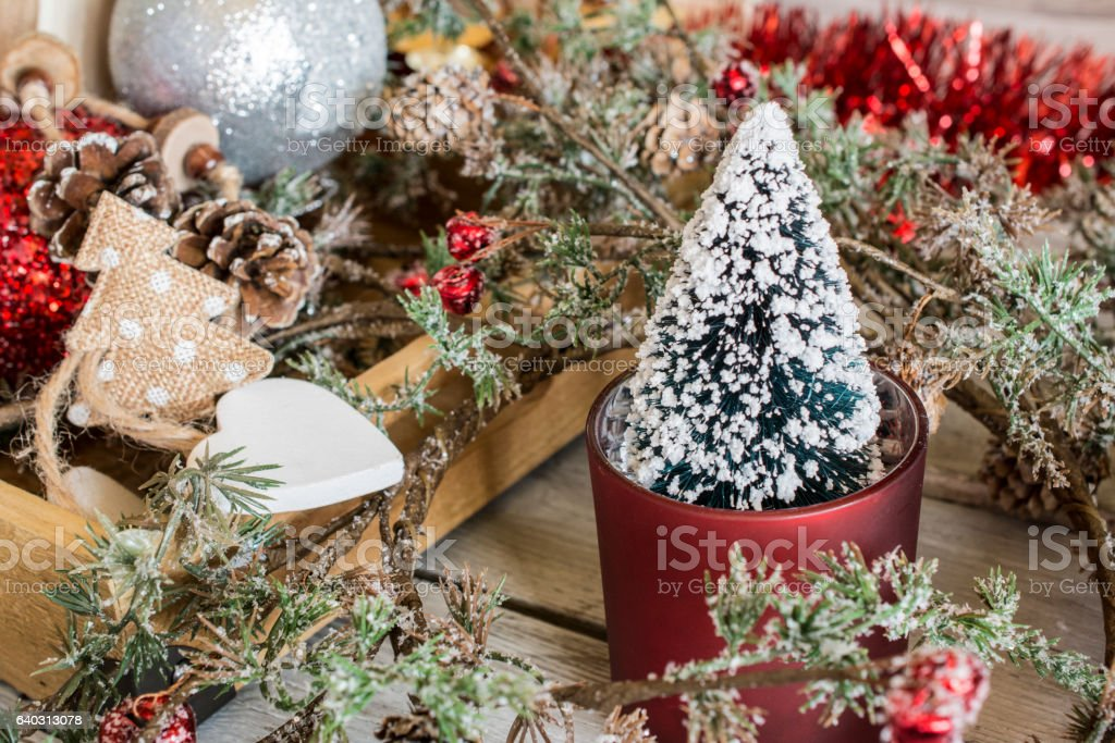 Christmas trees and branch with paper stock photo