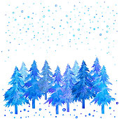 Christmas trees and snowfall watercolor hand painted.