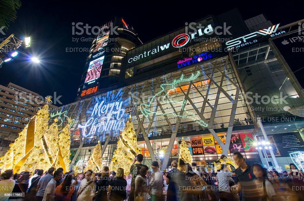 Christmas trees at shopping mall stock photo