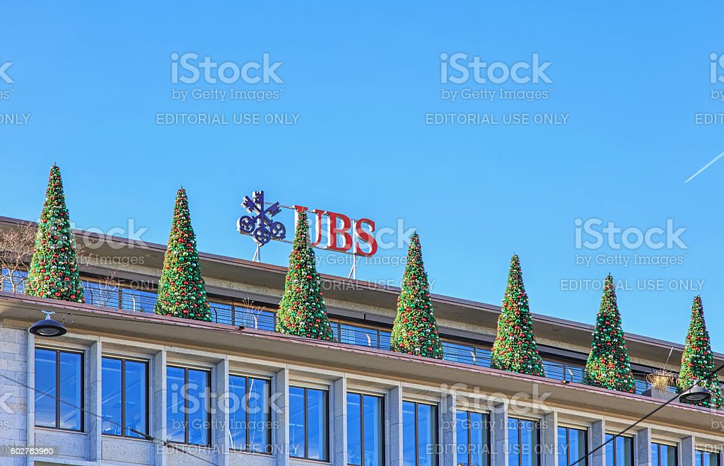 Christmas trees on the top of the UBS building stock photo