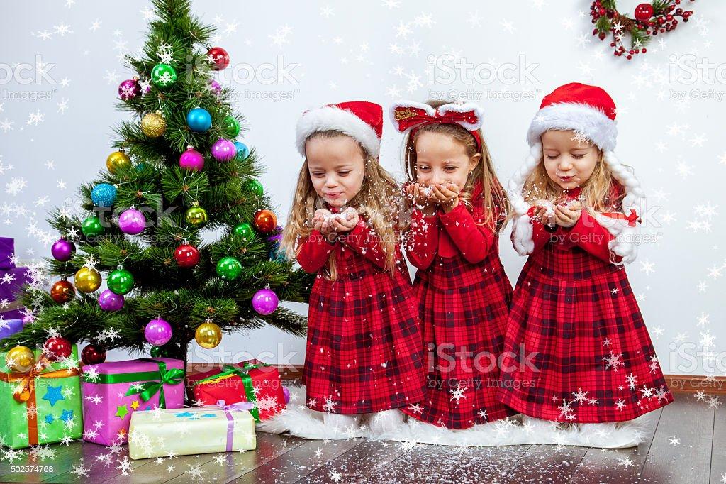 Navidad trillizo foto de stock libre de derechos