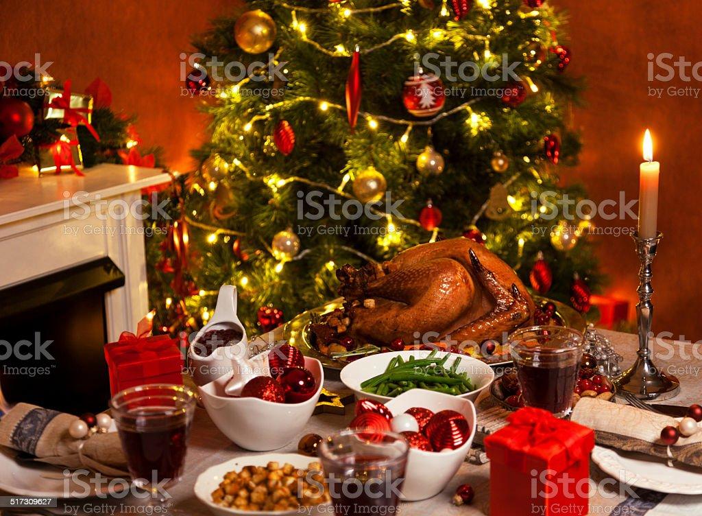 Christmas Turkey Dinner stock photo